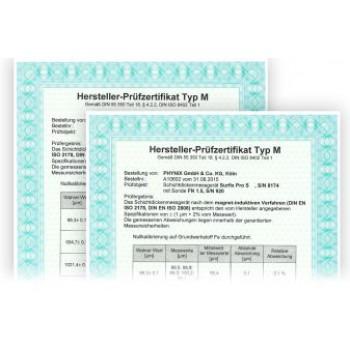 Certificato spessori di riferimento campione